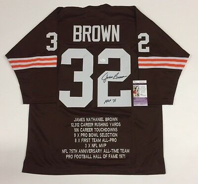 JIM BROWN AUTOGRAPHED BROWNS STAT JERSEY with JSA COA #Q43020
