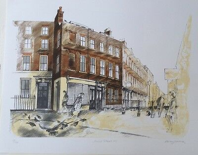 """ALBANY WISEMAN b1930 Limited Edition Lithograph """"Meard Street, London"""" Curwen"""