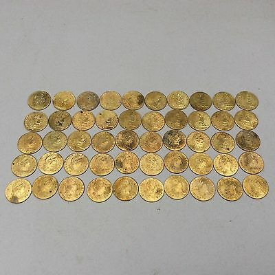 50 X SPADE GUINEA GAMING TOKENS dated 1788 IN MEMORY OF THE GOOD OLD DAYS