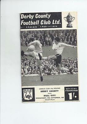 Derby County v Hull City League Cup Football Programmes 1969/70