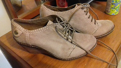 Ladies Clarks Brown Leather Boots Wedges 6