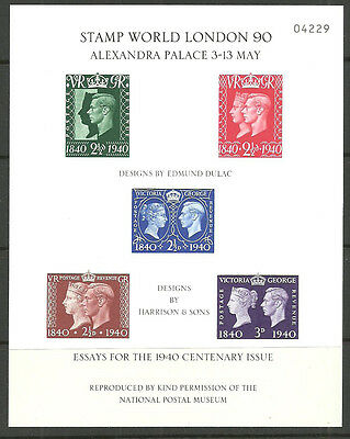 Stamp World London 90 3-13 May Essays For The 1940 Centenary Issue Sheet