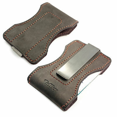 TUFF LUV Personalised Genuine 'Western' Leather case for money clip - Brown