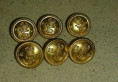 6 small vintage Royal Navy metal buttons.