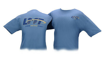 Blue T-Shirt with Blue and Gold LMT Licensed Massage Therapist logo size Medium