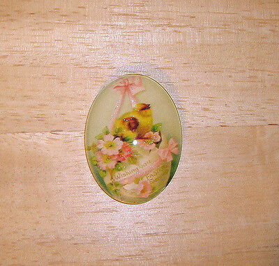 Vintage Easter Chicks Glitter Unset Handmade Art Bubble Cameo Cabochon 30X40mm