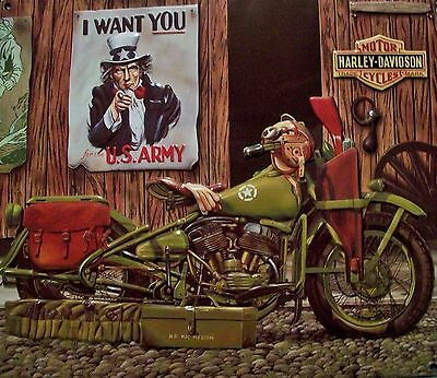 """HARLEY DAVIDSON Embossed Metal Tin Sign """"FREEDOM RIDERS"""" NEW Ande Rooney"""