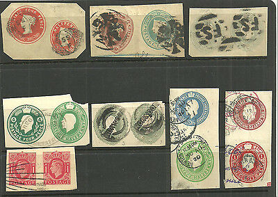 Selection 8 Used Double Die Postal Stationery Cut Outs Qv X3 Edvii Gv X3 Gvi X1