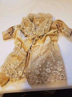 Vintage Gold Suede With Lace Doll Jacket Sweater Duster