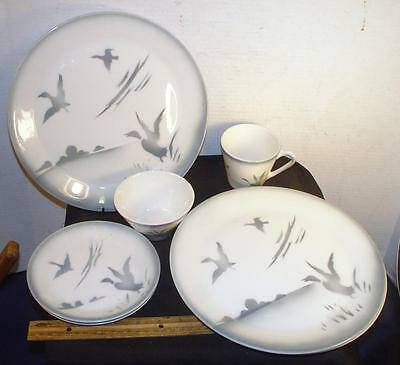 Lot Of 8 Vintage Syracuse China Duck Hunting Restaurant Plates Cups Airbrushed !