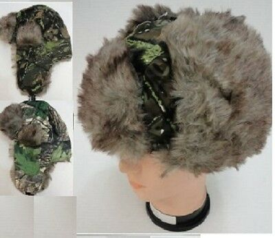 12 New Green Camo Bomber / Trapper Hats W/faux Fur And Ear Flaps,free Shipping