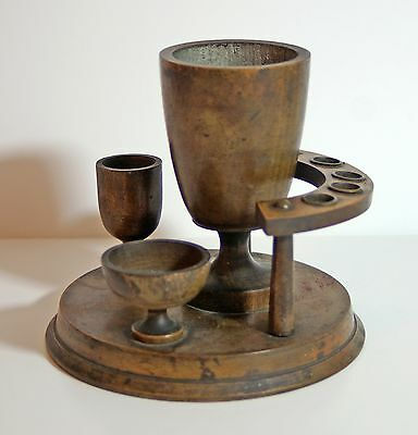 Vintage wood & brass smoker's stand for 5 pipes, with mixing & match bowls