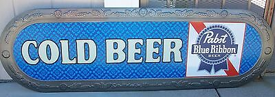 "NEW in Box Pabst Blue Ribbon ""Cold beer""  58x18"" Metal Beer Sign L@@K"