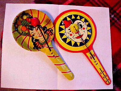 """Old Kirchhof """"Life of The Party"""" 1928 Clown Face & Girl Tin Litho Noisemaker 2pc"""