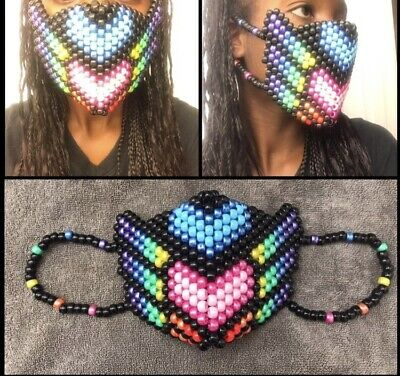 Rainbow Winged Pride Kandi Mask, EDC, EDM,Ultra, Raves,