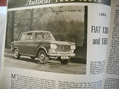 Fiat 1300 & 1500  1961  Road Test in this  Autocar Magazine