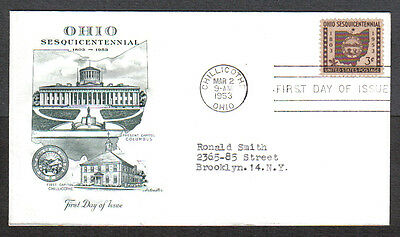 Us Fdc 1953 Ohio Sesquicentennial 3C Artmaster Cachet First Day Of Issue Cover