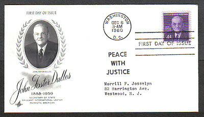 Us Fdc 1960 John Foster Dulles 4C Peace With Justice First Day Of Issue Cover
