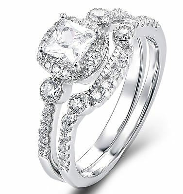 925 Sterling Silver Cz Wedding Band Engagement Rings Set Women Size 3-12 Ss2193