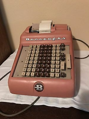 Burroughs Antique Adding Machine- Pink with Cover