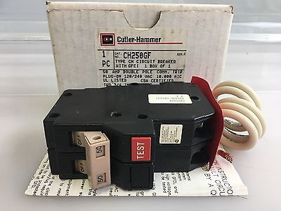 Eaton Cutler Hammer CH250GF 2 Pole 50 AMP GFCI Breaker Ground Fault Plug In
