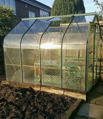 greenhouse 8ft x 6ft green powder coated aluminium with sliding door