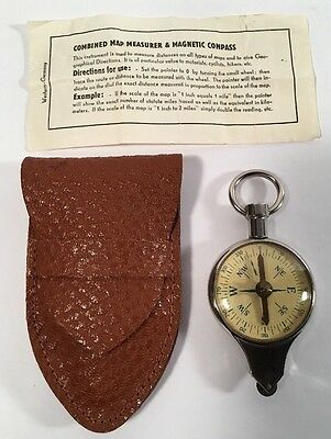 Vintage Magnetic Compass Map Measurer Leather Case Germany Nautical Miles