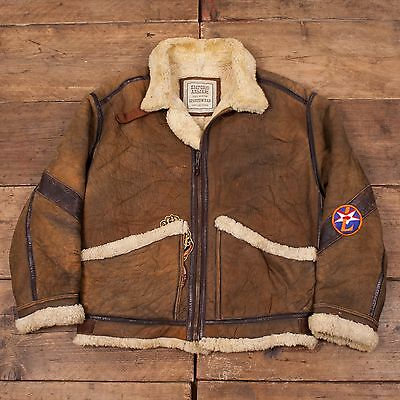 "Mens Vintage Armani Sheepskin B-3 Fur Lined Flight Jacket Brown L 44"" R4532"
