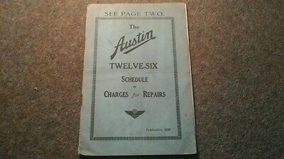 Austin Twelve - Six Schedule Of Charges For Repairs 1935 Austin Cars