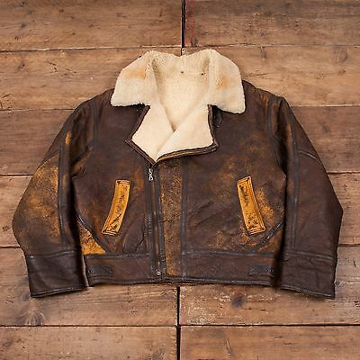 "Mens Vintage Sheepskin Shearling Leather B3 Fur Flight Jacket Brown XL 48"" R4542"