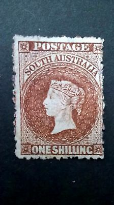 1855 - South Australia One Shilling stamp. Mint light hinged