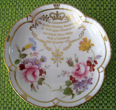 HM The Queen & Prince Philip Golden Wedding Anniv. Pin Dish-Royal Crown Derby