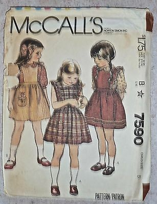 VINTAGE 1981 McCALL'S PATTERN #7590 - PINAFORE/JUMPER/DRESS & BLOUSE - GIRLS 5