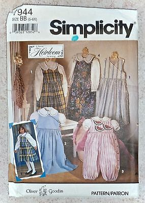 Simplicity Pattern #7944 Heirloom *oliver Goodin* Jumper/jumpsuit Girls 5/6X Uc