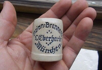 1890s L.EBERHARDT MUNICH ENZIAN BRENNEREI POTTERY ADVERTISING MINI BEER MUG