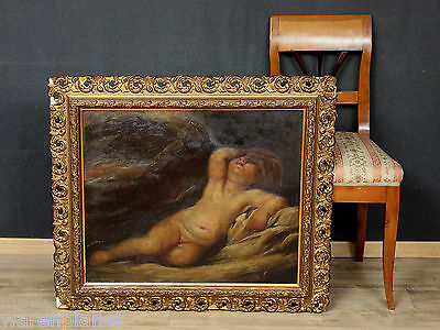 ÖL GEMÄLDE ANTIK PORTRAIT AMOR ? PUTTI PUTTO ENGEL old oil painting angel barock