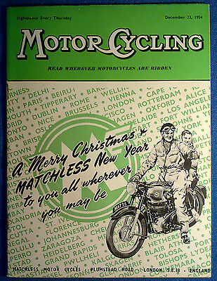 1954 MotorCycling magazine Christmas Issue, Matchless Cover Ad, MV Factory Visit