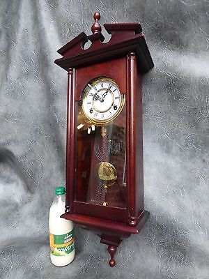 A Good Clean Slim Mahogany Cased Highland Gong Strike Wall Clock With Key