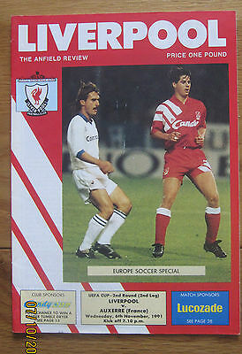 Liverpool v Auxerre UEFA Cup 2nd Rd 2nd Leg Programme 6.11.1991