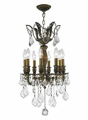"8-Lt Antique Bronze Finish 14"" x 23"" Diana Clear Crystal Chandelier Light"