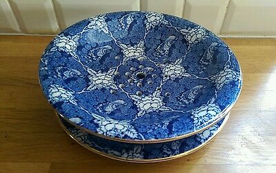 antique blue and white birds and flowers drainer plate and underplate