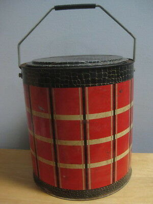 Vintage Plaid Black And Red Striped Round Cooler With Handle Some Rust