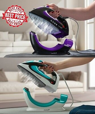 Easy Steam Iron 2200W 2 in 1 Corded Cordless Non-Stick Coated Ceramic Soleplate