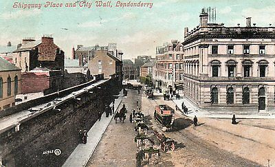 """OLD POSTCARD """"SHIPQUAY PLACE and CITY WALL, LONDONDERY"""" Posted LONDONDERRY 1905"""