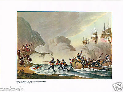 Landing Troops In The Face Of The Enemy Antique Military Picture Print