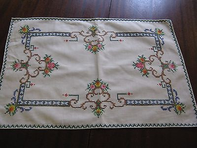 "Hand embroidered Tray Cloth Cream  Approx. 13"" x 19"""