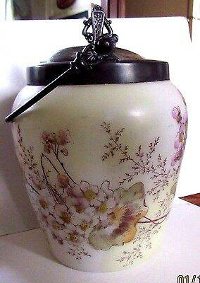 Antique decorated cracker biscuit jar with handle and silverplate cover