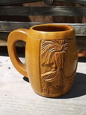 Collectible Hand Carved Hawaiian Mug - Volcano & Trees