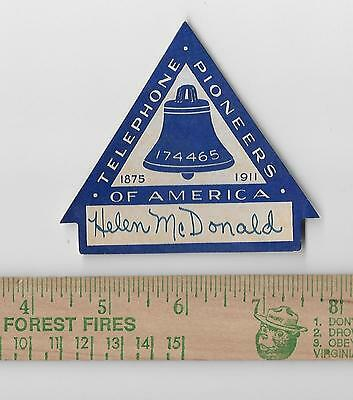 Telephone Pioneers of America 1875-1911 triangle unused paper sticker or decal