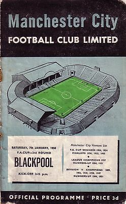 MANCHESTER CITY v BLACKPOOL 1955/56 FA CUP 3RD ROUND